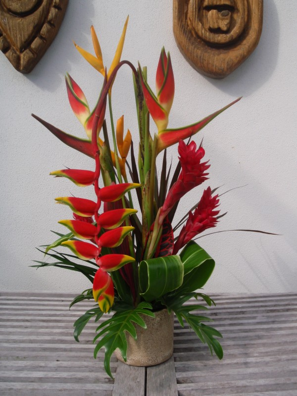 tropical cut flower arrangement