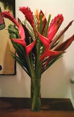 Tropical Flowers Heliconia Ginger Ti Cordyline bouquet arrangement