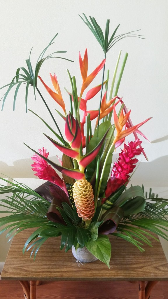 Back to regular hours and some tropical floral for Garden arrangement of plants